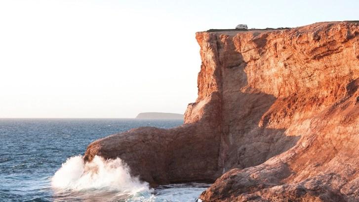 van on the cliff